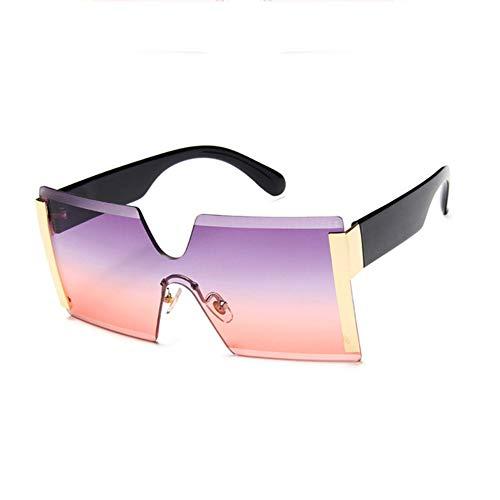 WPHH Gafas De Sol con Marco Grande De Gran Tamaño para Mujer Gafas De Sol Cuadradas Sin Montura Gafas De Sol Transparentes con Degradado De Moda Vintage,C6