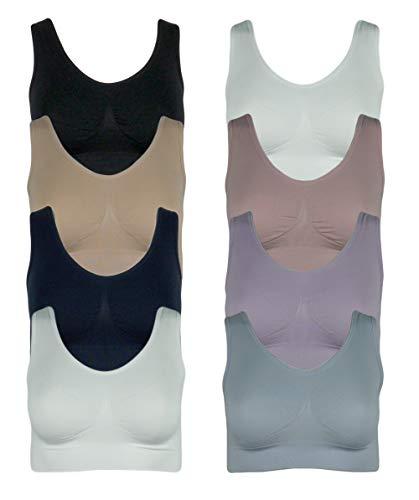 4er Pack Damen Komfort BH Seamless Bustier Top Shirt BH, Farbe:Blau, Größe:2XL