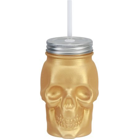 top rated A glass skull-shaped masonry jar with gold-plated metal and a 16-ounce straw lid … 2020