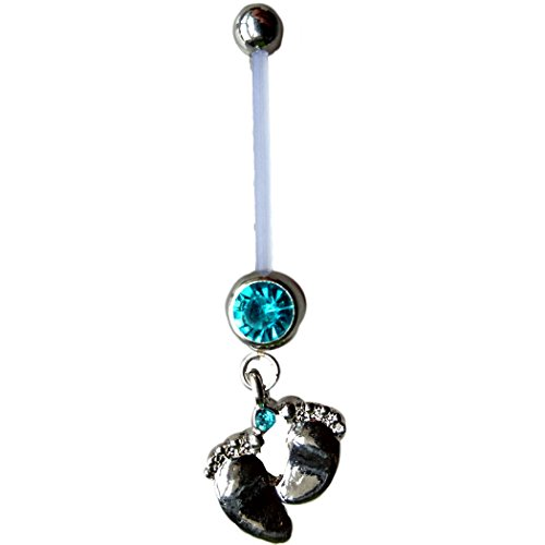 Astage Women`s Pregnancy Flexible Belly Button Ring Or Glitters Piercings Blue