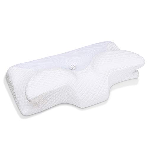 HOMCA Cervical Memory Foam Pillow, Ergonomic Contour Pillow for Neck Pain Relief, Contoured Support Pillows for Side Back Stomach Sleepers, (White)