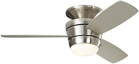 Harbor Breeze Mazon 44 In Brushed Nickel Flush Mount Indoor Ceiling Fan With Light Kit And Remote 3 Blade Amazon Com