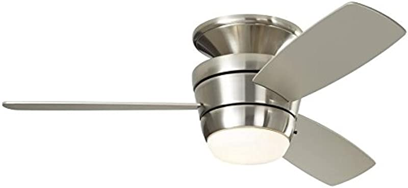 Harbor Breeze Mazon 44 In Brushed Nickel Flush Mount Indoor Ceiling Fan With Light Kit And Remote 3 Blade