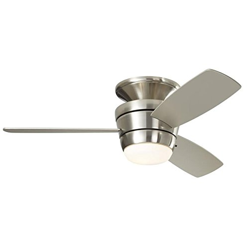 Harbor Breeze Mazon 44-in Brushed Nickel Flush Mount Indoor Ceiling Fan with...