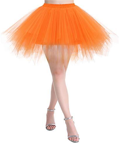 MuaDress Tüllrock Petticoat Kurz Tutu Minirock Retro Unterrock Ballet Tanzkleid Orange S