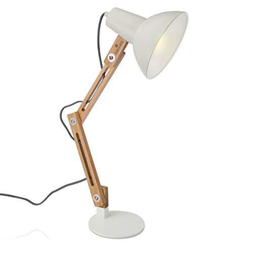Navaris Lámpara de escritorio de madera vintage - Flexo retro para sobremesa - Lámpara de mesa con diseño nórdico portalámparas E27 - Gris claro