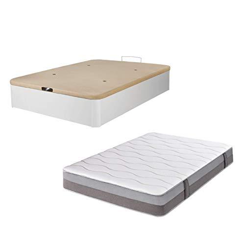 DHOME Pack Canape abatible tapizado 3D Madera + Colchón viscografeno, Reversible Conjunto (150x200 Blanco, 30mm + Colchón)