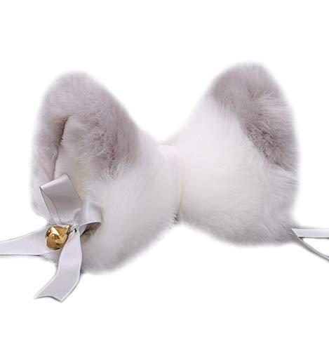 Focupaja Diadema de Oreja de Gato Orejas de Zorro Cosplay (Gris blanco)