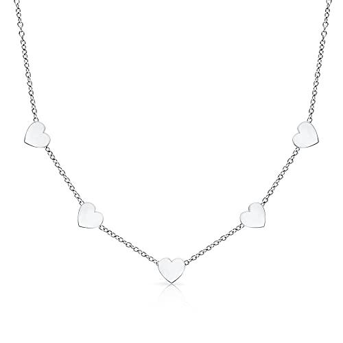 LENIRA® Hochwertige Frauen Halskette - Zarte 5 Herz Kette + Schmuckschachtel (Silber)