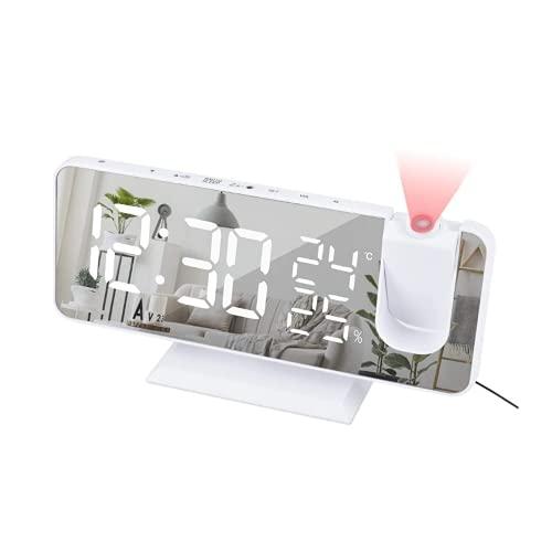 Alarm Clock, Digital Clock Large LED Clocks FM Radio Smart Watch Table Electronic Desktop USB Wake Up with Projection Time Snooze for Bedroom Decor Desk Bedside Office White