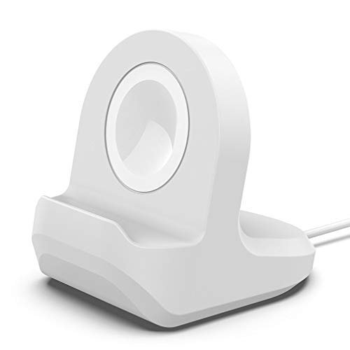 Soporte de Silicona Recargable Soporte de estación Cargador de Muelle Soporte de Cable Bases de Soporte para Apple Watch (Blanco)