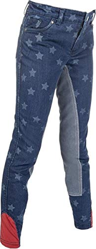 HKM Erwachsene Jeans-Reithose-Bibi&Tina Stars-3/4 Besatz6100 jeansblau176 Hose, 6100 Jeansblau, 176