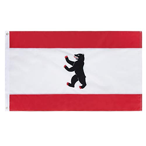 Lixure Berlin Flagge/Fahne 90x150 cm Stickerei-Flagge mit Messing Ösen 210D Nylon Wasserdicht Draußen/Drinnen Dekoration Scharf Lebendig Top Qualität MEHRWEG