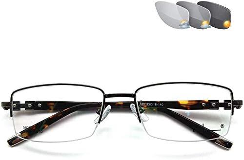 Gafas de lectura Los lectores de sol de lectura vasos, copas progresiva multifocal dioptrías, medio borde de metal Fotocromáticas Gafas, lectores de hombres y mujeres vasos ( Color : A , Size : 1.0x )