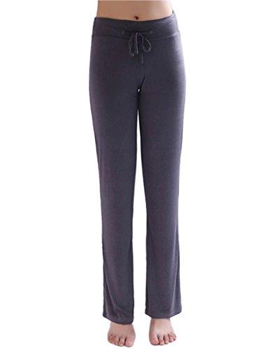 Hoerev Kvinnor mjuka modal slimming byxor yogabyxor pyjamasbyxor, Mörkgrå, XS