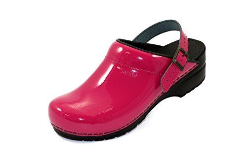 Sanita Freya open 457548 - Zuecos de cuero para mujer, Rosa (Pink (Fuchsia 79)), 38