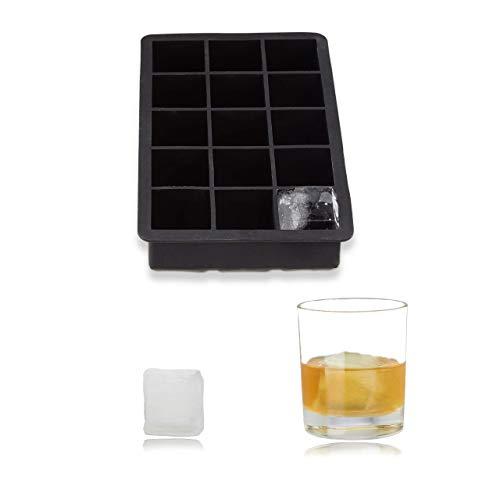Relaxdays Eiswürfelform Silikon, für 3,5 cm Eiswürfel, BPA-frei, für Cocktails, HxBxT: 3,5 x 19,5 x 12,5 cm, schwarz