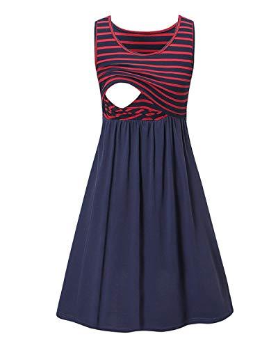Love2Mi Damen Umstandskleid Streifen Stillkleid Ärmellos Schwangere Sommerkleid-Roter Streifen / Blau-L
