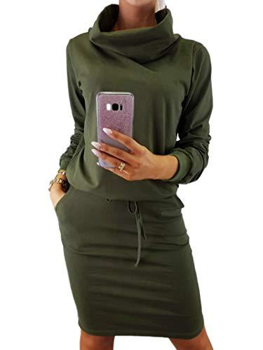Auxo Damen Pullover Kleid Langarm Rollkragen Sweatkleid Einfarbig Wickelkleid Herbst Midi Kleider Armee-Grün Large