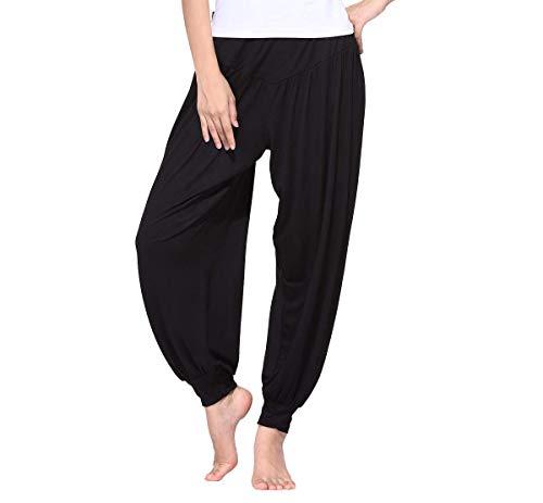 BeautyWill Harem Pants for Women High Waist Yoga Workout Casual Loose Soft Modal Pilates Pants Black