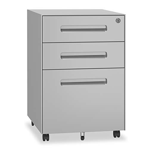 YOLEO Metall Rollcontainer Stahl Rollcontainer mit 3 Schubladen und Hängeregistratur Abschließbarer Büroschrank Bürocontainer 48x40x59 cm (Gray)