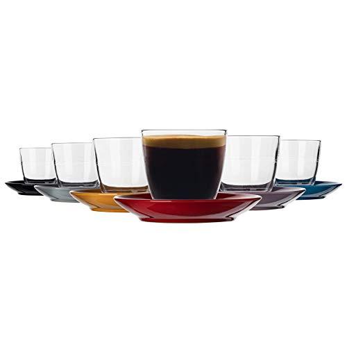 Duralex 12 Piezas de Cristal Gigogne Taza y platillo de cerámica Set - Taza del Vaso de Estilo Moderno para Latte Cappuccino - Multi - 220ml