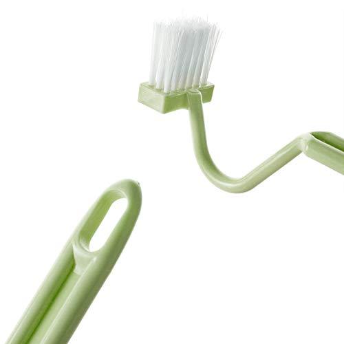 Deinbe S Forma Cepillo de Limpieza WC portátil WC depurador Curvas Bien definidas inclinación Lateral maneja la Herramienta Pincel Limpiador de la Esquina Green