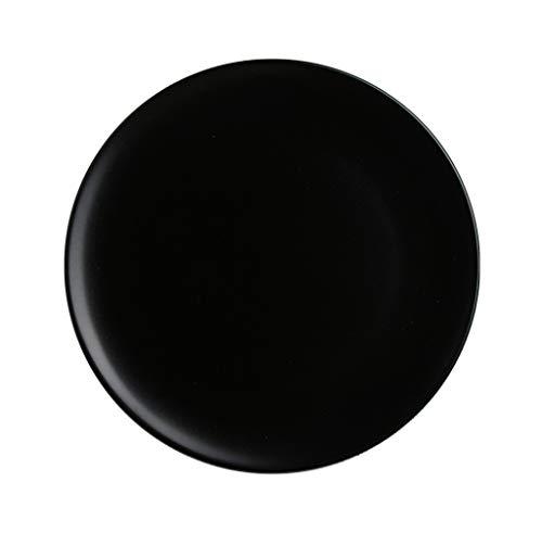 Assiettes à salade/à dessert Assiettes à soupe Assiettes à soupe en porcelaine Craft Black (Couleur : NOIR, taille : 10.2-inch)