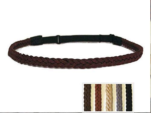 Faux Leather Headband for Men Women & Kids in 3/8' Width with Elastic Back/Faux Suede Cord in Black Brown Tan Gray Blue