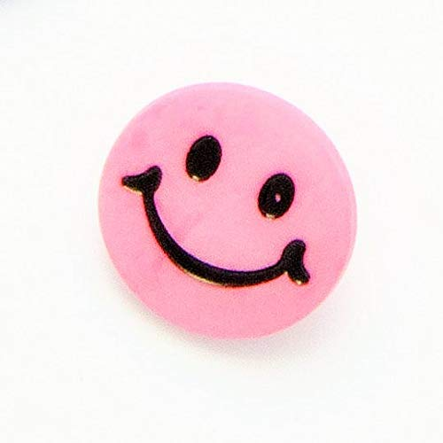 Bouton Visage Souriant à Queue 15mm : Rose: Lot de 6