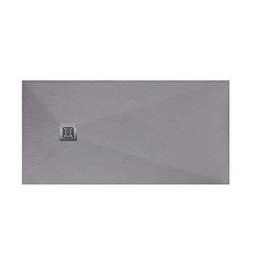 Plato de ducha rectangular de 160 x 70 x 3 centímetros, con válvula de desagüe, colección Suite N, color gris plata (Referencia: 6347645)