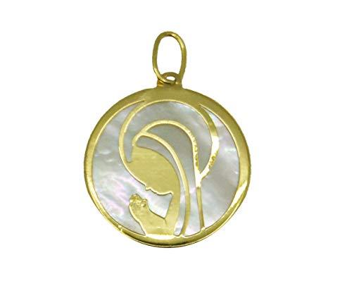 Desing & Gold Medalla Virgen Niña en Oro 18 kte y Nácar