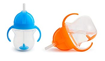 Munchkin Click Lock 7 Ounce Weighted Flexi-Straw Cup 2 Pack Blue/Orange
