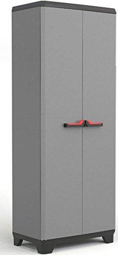 KETER | Armoire haute Stilo, Gris/Noir/Rouge, Cabinets, 68x39x173 cm