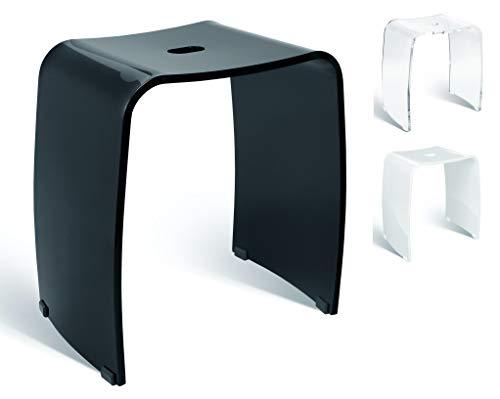 Libaro Taburete de baño Meran acrílico con asa, diseño atemporal y antideslizante, con patas de goma (negro)