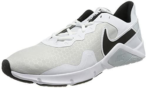 Nike Legend Essential 2, Zapato de Tribunal Interior Hombre, Pure Platinum Black White, 45.5 EU