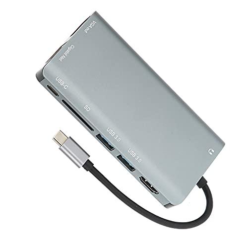 Eulbevoli Concentrador USB C, aleación de Aluminio, 8 Puertos, Adaptador USB C, Accesorios para computadora portátil para Viajes, Transporte Diario para desplazamientos Diarios