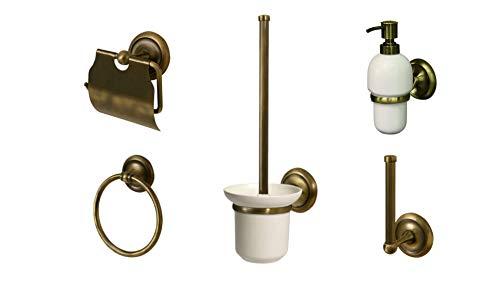 Aprovio 5er Badezimmer Set: Seifenspender, WC- Bürstengarnitur, Toilettenpapierhalter, Ersatzrollenhalter, Handtuchring in Messing-Antik-Optik, Landhaus