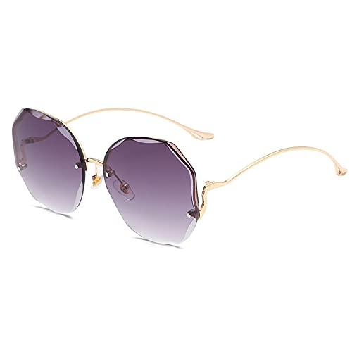 YMOMG Gafas De Sol con Borde Sin Marco Moda Tendencia Europea Y Americana Gafas De Sol con Degradado De Película Oceánica Gafas De Sol con Forma De Flor De Mariposa (Purple)