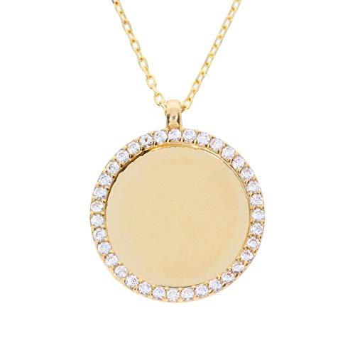 Stella-Jewellery Damen Halskette mit Zirkonia Gravur Rund Plättchen Platte Gold Kette personalisiert Namenskette