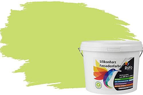 RyFo Colors Silikonharz Fassadenfarbe Lotuseffekt Trend Salbeigrün 3l - bunte Fassadenfarbe, weitere Grün Farbtöne und Größen erhältlich, Deckkraft Klasse 1