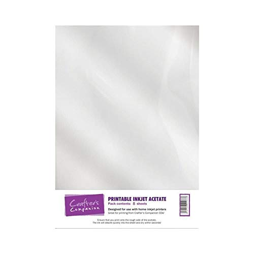 Crafter's Companion ACETPR001 - Carta stampabile, bianca, 100 micron, 8 pezzi, acetato stampabile, 8 fogli