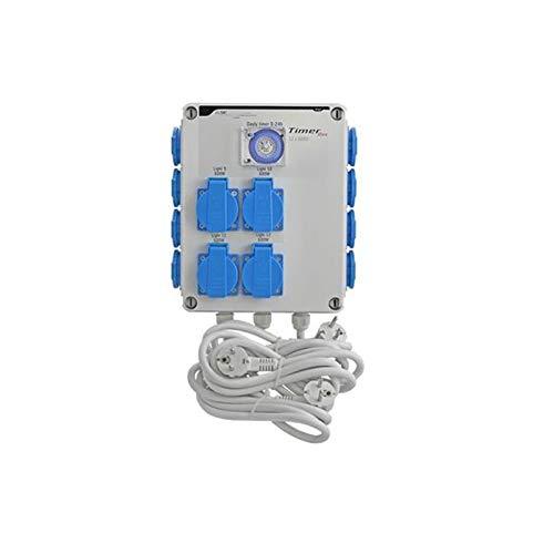 GSE Timer Box II 4 x 600 Watt + Calefacción 220 V - Grow Indoor lámparas de control de tubo de ventilador de riego ventilador de jardín (12x600 vatios + calefacción 220 V)