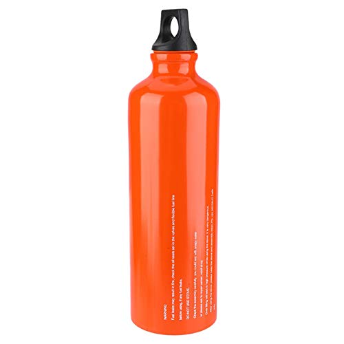 SALUTUYA Empty Fuel Storage Bottle,750ML Outdoor Fuel Bottle Aluminum Alloy Gas Fuel Storage Bottle with Ring Handle for Camping Cooking Hiking