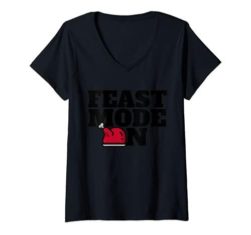 Mujer Traje de Navidad a juego con la familia Modo de fiesta de Camiseta Cuello V