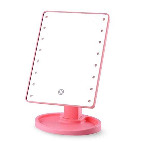 Led-make-upspiegel met licht Desktop-opslag Touch-sensor Spiegel 360 Roterende vierkante make-upspiegel Make-up Nieuwe, roze, 22 lampjes USB
