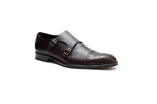 Zapatos para Hombre Monk Strap Piel De Venado con Hebillas Duque (27.5, Tabaco)