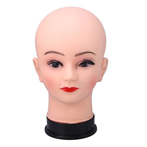 Frcolor Tête de mannequin chauve tête de mannequin cosmétologie perruque tête pour chapeau coiffure coiffures exposition de coiffure pratique