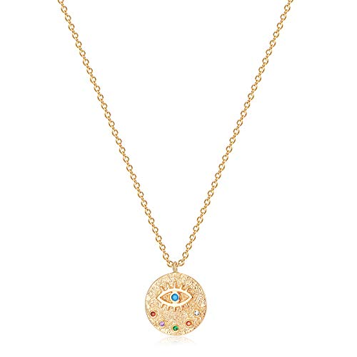 VACRONA Evil Eye Necklace for Women Girls 18k Gold Plated Textured Disc Necklace Multicolored CZ Turquoise Protection Necklace Minimallist Layering Hamsa Medallion Coin Necklace Gift for Her