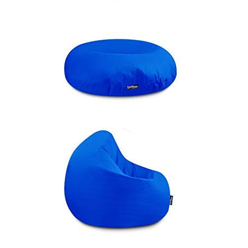 Sitzkissen & Sitzsack für Kinder & Erwachsene 32 Farben & 3 Größen wählbar Indoor Outdoor Kissen Wasser- & Schmutzabweisend Material Bodenkissen (Blau-Kinder)